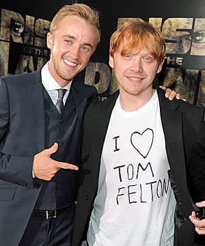Rupert Grint supports Harry Potter co-star Tom Felton at Rise of the Planet of the Apes premiere