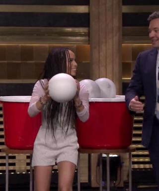 Watch Zoë Kravitz Play Giant Beer Pong with Jimmy Fallon