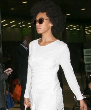 Solange Knowles Nails Head-to-Toe Winter White at the Airport