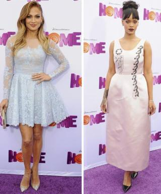 Rihanna and Jennifer Lopez Opt for Sweet Pastels at the Premiere for Home