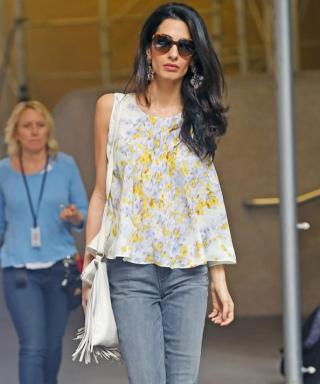 Amal Clooney Doubles Up On Floral and Fringe While Visiting George's Film Set