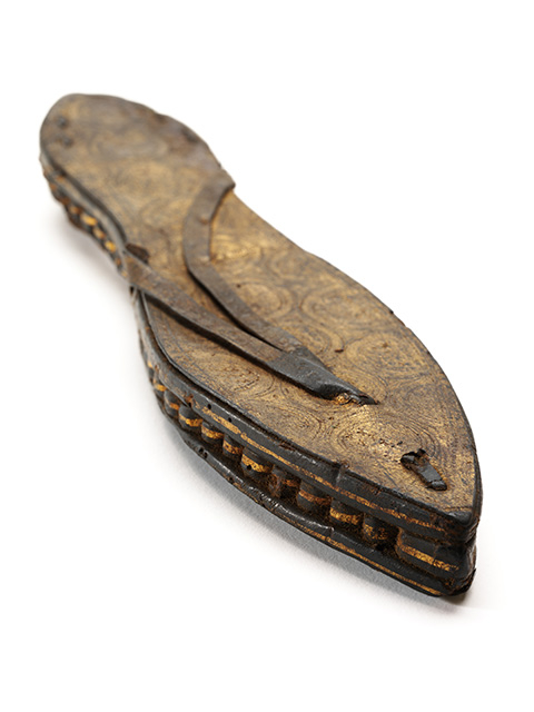 one sandal, gilded and incised leather and papyrus, Egypt, c30 BCE-300 CE