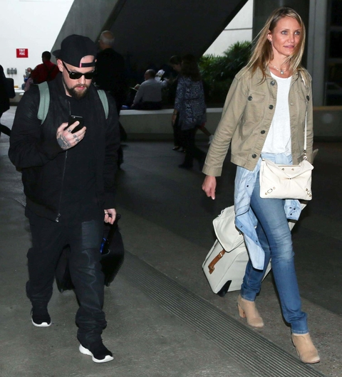 Cameron Diaz and Benji Madden at LAX on August 31, 2015