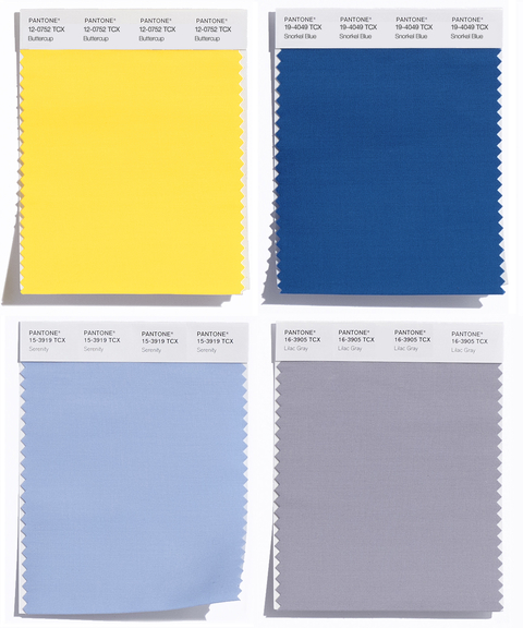 4. Buttercup, Snorkel Blue, Serenity, Lilac Gray