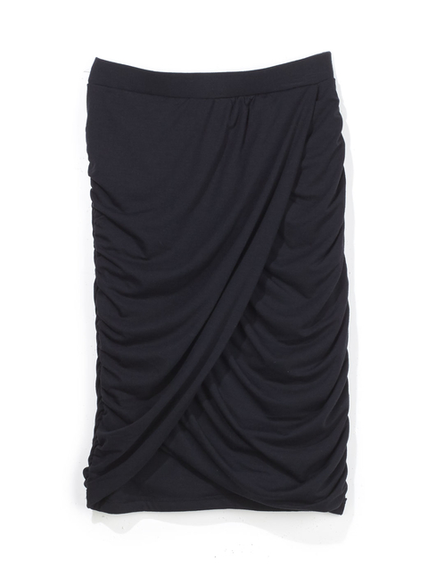Asymmetric Ruched Wrap-Front Skirt