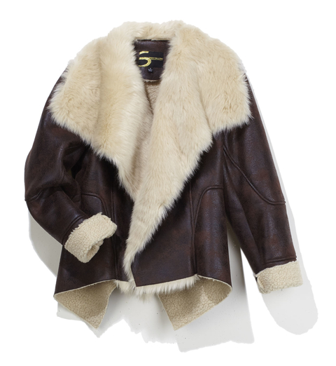 Faux Shearling Jacket with Faux Fur Collar