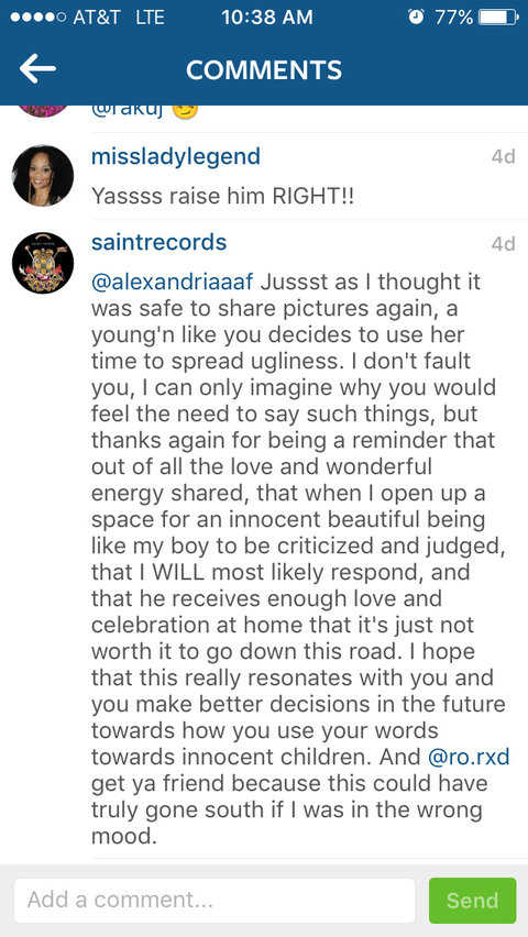 Solange's Response on Instagram - Embed