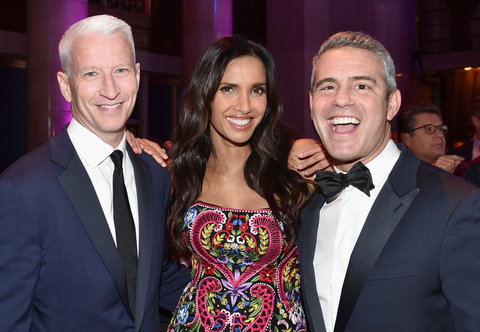 NEW YORK, NY - NOVEMBER 02:   (L-R) Benjamin Maisani, Anderson Cooper, Padma Lakshmi and Andy Cohen attend Elton John AIDS Foundation's 14th Annual An Enduring Vision Benefit at Cipriani Wall Street on November 2, 2015 in New York City.  (Photo by Mike Co