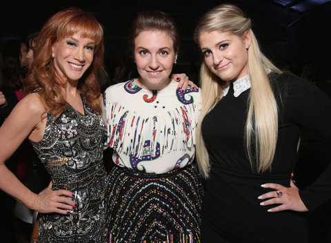 LOS ANGELES, CA - DECEMBER 09:  (L-R) Comedian Kathy Griffin, honoree Lena Dunham and recording artist Meghan Trainor attend the 24th annual Women in Entertainment Breakfast hosted by The Hollywood Reporter at Milk Studios on December 9, 2015 in Los Angel