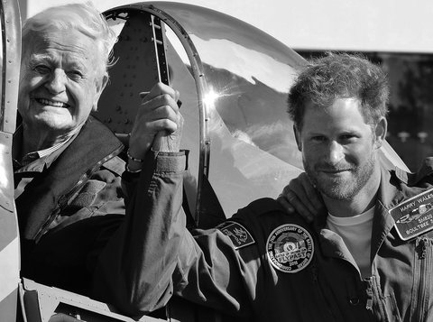 12/22/2015 - The picture chosen by Prince Harry as his Christmas card which shows him with Battle of Britain veteran Tom Neil during the commemoration of the 75th anniversary of victory in the Battle of Britain, at Goodwood Aerodrome in West Sussex. The P