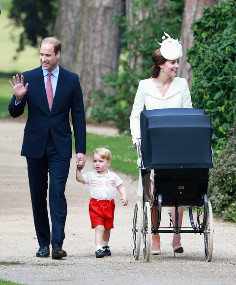 Catherine, Duchess of Cambridge, Prince William, Duke of Cambridge, Princess Charlotte of Cambridge and Prince George of Cambridge arrive at the Church of St Mary Magdalene on the Sandringham Estate for the Christening of Princess Charlotte of Cambridge