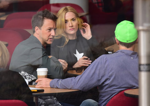 New York, NY - Kate Winslet is on set of 'Collateral Beauty' with co-stars Edward Norton and Michael Pena. The film is about a tragic event sends a New York ad man on a downward spiral. The three actors were seen at a meeting and walking around on set of