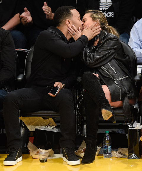 Chrissy Teigen and John Legend at Lakers Game