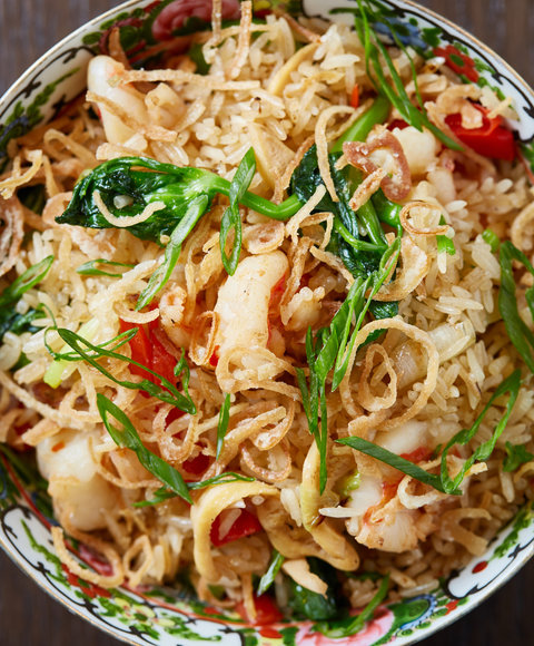 <p>Seafood Fried Rice with Shrimp, Bass, and Smoked Clams</p>