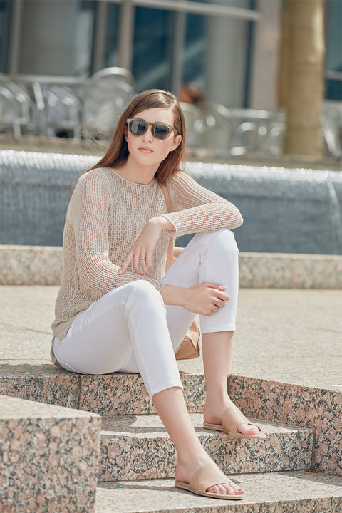 Nordstrom Eileen Fisher Nude Layered Sweater + White Skinnies