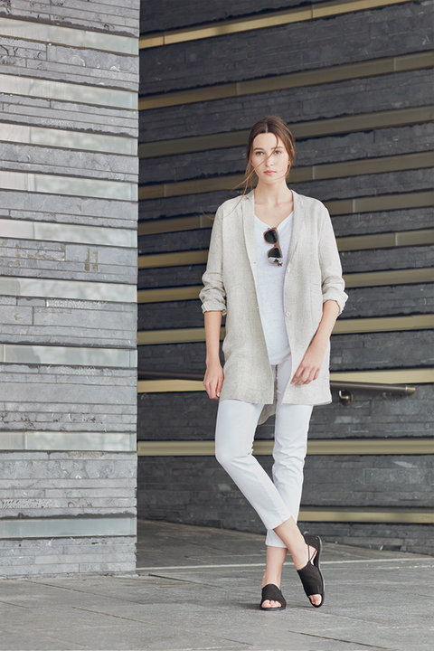 Nordstrom Eileen Fisher Long Linen Jacket + Cuffed White Jeans