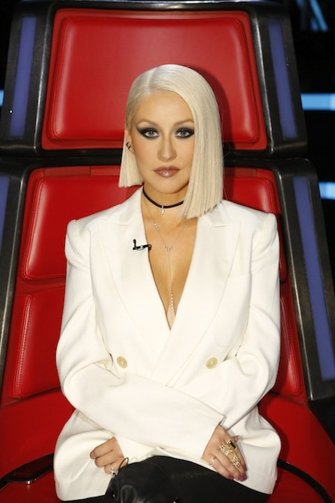 "THE VOICE -- ""Live Semi Finals""  Episode: 1017B -- Pictured: Christina Aguilera -- (Photo by: Trae Patton/NBC/NBCU Photo Bank via Getty Images)"