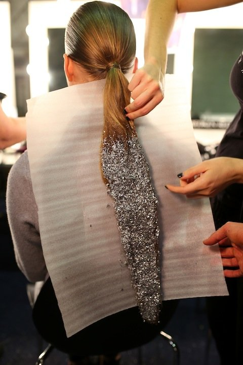 SYDNEY, AUSTRALIA - MAY 16:  A model prepares backstage ahead of the Swarovski show at Mercedes-Benz Fashion Week Resort 17 Collections at Carriageworks on May 16, 2016 in Sydney, Australia.  (Photo by Graham Denholm/Getty Images)