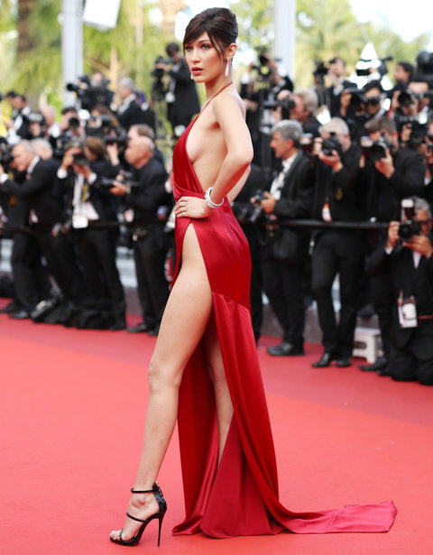 See Bella Hadids Red Hot Dress With A Sky High Slit From