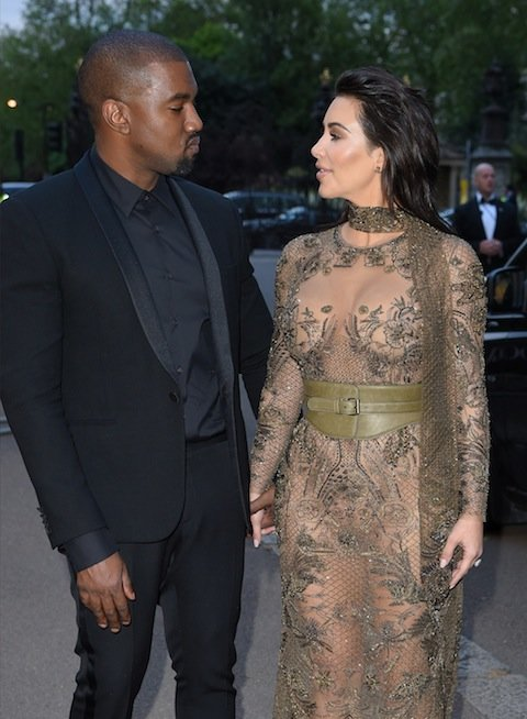 LONDON, ENGLAND - MAY 23:  Kanye West and Kim Kardashian West arrive for the Gala to celebrate the Vogue 100 Festival at Kensington Gardens on May 23, 2016 in London, England.  (Photo by Karwai Tang/WireImage)
