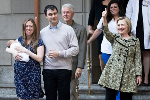 Chelsea Clinton and Family Leave Hospital