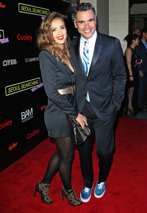 """LOS ANGELES, CA - JUNE 24:  Actress Jessica Alba (L) and her Husband Cash Warren (R) attend the premiere of """"Seoul Searching"""" at The Majestic Downtown Los Angeles on June 24, 2016 in Los Angeles, California.  (Photo by Paul Archuleta/FilmMagic)"""