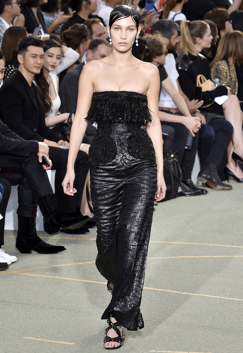 PARIS, FRANCE - JUNE 24:  Bella Hadid walks the runway during the Givenchy Menswear Spring/Summer 2017 show as part of Paris Fashion Week on June 24, 2016 in Paris, France.  (Photo by Kristy Sparow/Getty Images)