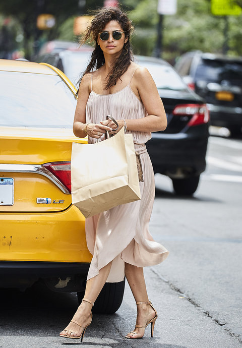 Camila Alves spotted wearing a nude colored summer dress while exiting a taxi cab in NYC                                                              Pictured: Camila Alves                               Ref: SPL1312091  010716                                 Picture by: J. Webber / Splash News                                                              Splash News and Pictures                               Los Angeles:310