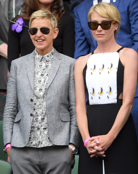 LONDON, ENGLAND - JULY 09:  Ellen DeGeneres and Portia de Rossi attend the women's final of the Wimbledon Tennis Championships between Serena Williams and Angelique Kerber at Wimbledon on July 09, 2016 in London, England.  (Photo by Karwai Tang/WireImage)