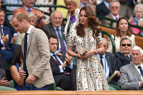 Britain's Prince William, Duke of Cambridge and Britain's Catherine, Duchess of Cambridge arrive in the royal box on centre court for the men's singles final match on the last day of the 2016 Wimbledon Championships at The All England Lawn Tennis Club in