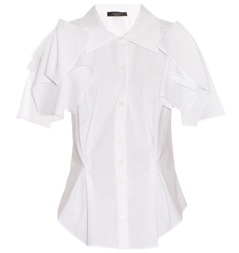 Giles Open-Shoulder Draped Cotton-Poplin Shirt