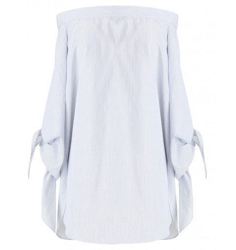 Tibi Stripe Shirting Off-The-Shoulder Tunic