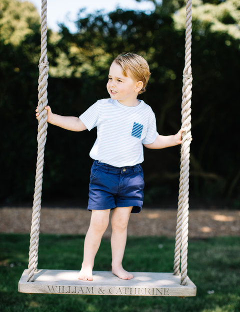 July 22, 2016 - Sandringham - NEWS EDITORIAL USE ONLY. NO COMMERCIAL USE  Undated handout photo released by the Duke and Duchess of Cambridge of Prince George, who celebrates his third birthday today, standing on a swing. The picture was taken at the fami