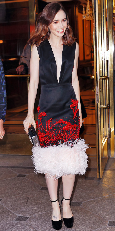 Lily Collins in Prada