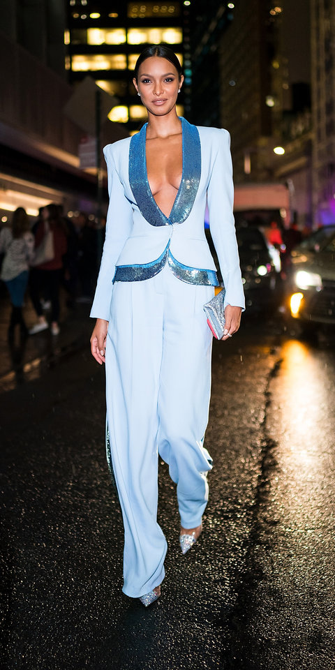 3. Lais Ribeiro - During a night out in New York City, Lais Ribeiro stunned in a Zuhair Murad suit, which features sequin lapels.