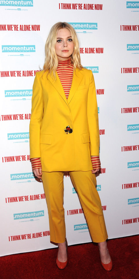 4. Elle Fanning - At the I Think We're Alone Now premiere, Elle Fanning rocked an Oscar de la Renta suit from the Resort 2019 collection.
