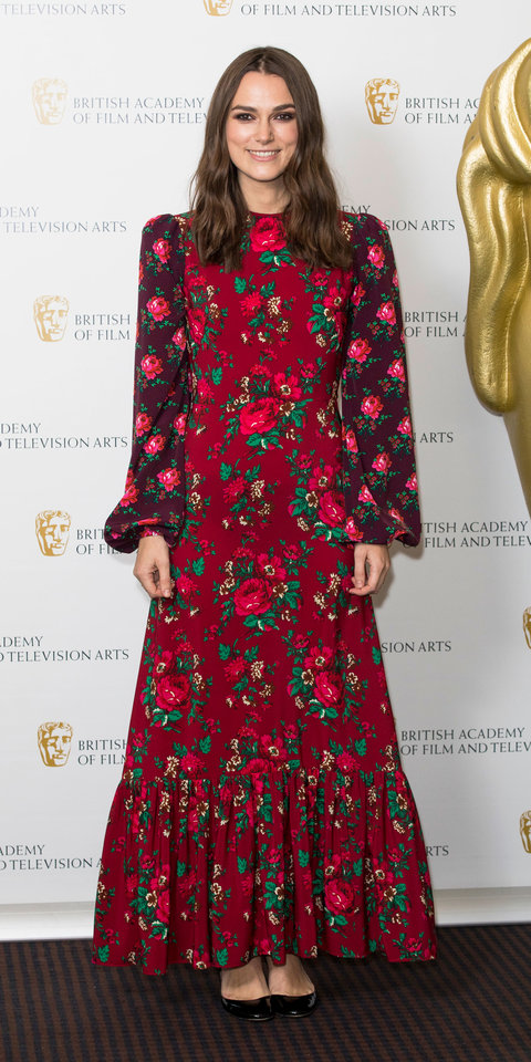 Keira Knightley stepped out for the BAFTA A Life in Pictures Retrospective in a floral dress by The Vampire's Wife .