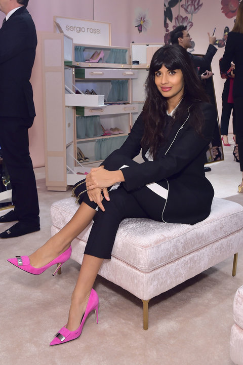 Jameela Jamil brought a black suit to life by pairing it with bright pink Sergio Rossi pumps ($750; orchardmile.com ).