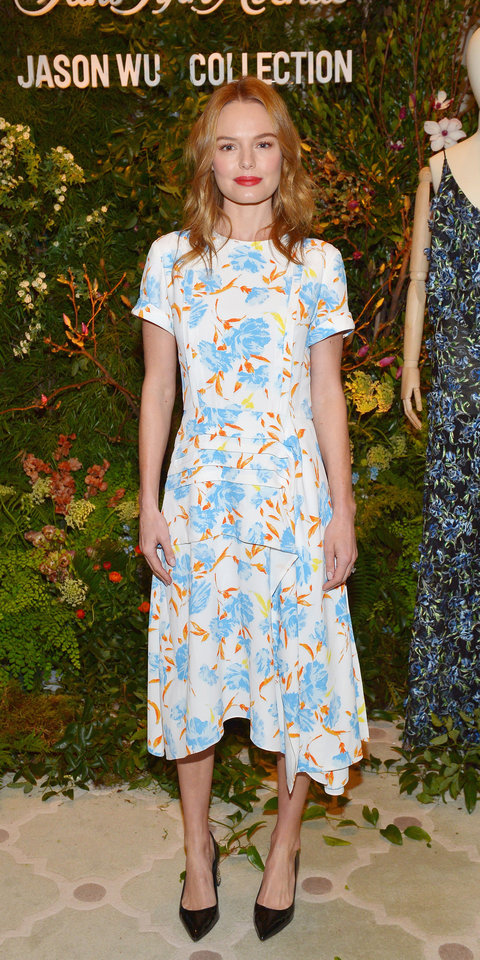 Kate Bosworth attended a luncheon with Jason Wu, while wearing one of his floral dresses ($1,495; saks.com ) and shiny pumps.