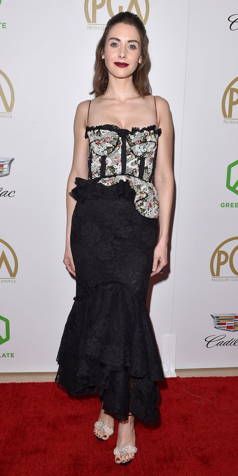 At the 2019 Producers Guild Awards, Alison Brie wowed in a lace Brock Collection dress and Christian Louboutin pumps ($2,095; saks.com ).