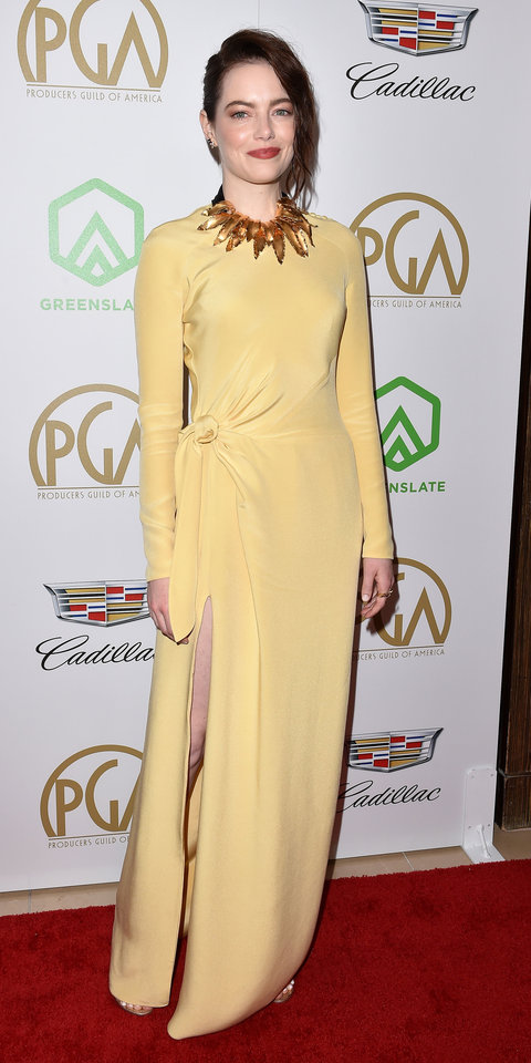 A custom Louis Vuitton gown with gold leaf trimming was the perfect choice for Emma Stone at the 2019 Producers Guild Awards.