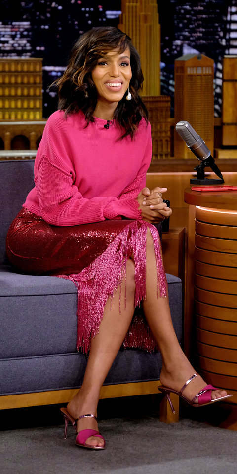 For an appearance on The Tonight Show Starring Jimmy Fallon , Kerry Washington dazzled in a Sally LaPointe bright pink sweater, sequin and fringe skirt, and fuchsia Malone Soulier heels ($575; shopbop.com ).