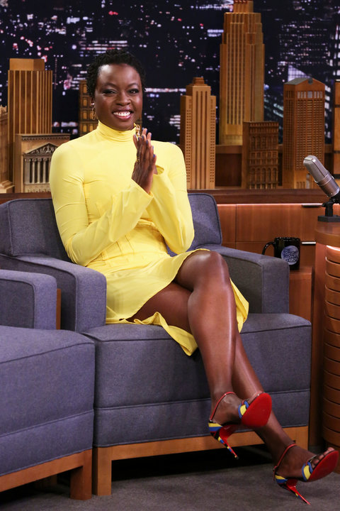 Danai Gurira rocked a yellow dress, which is one of the hottest colors of the season, with multi-tone Christian Louboutin heels during an appearance on The Tonight Show Starring Jimmy Fallon .