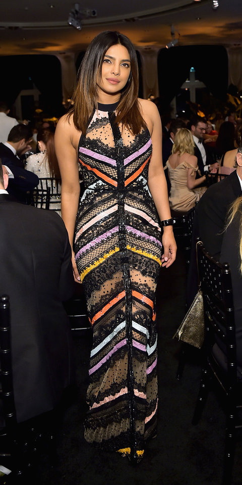 Priyanka Chopra stepped out in a graphic Elie Saab gown , which was accented with sheer lace insets.