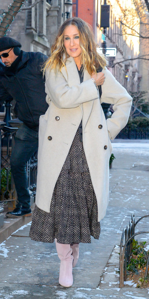 Sarah Jessica Parker stayed warm and stylish in a Gerard Darel coat , Warm dress , and suede boots.