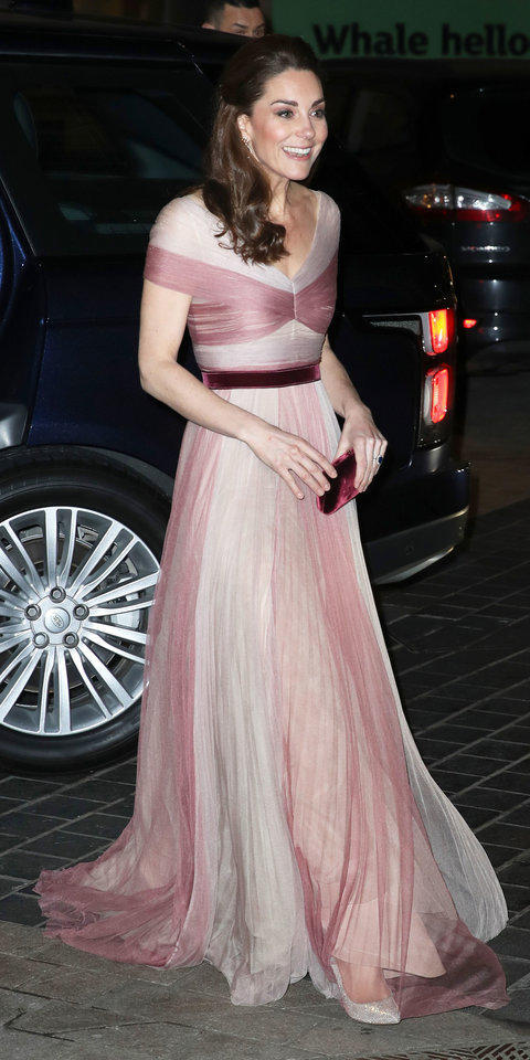 For the 100 Women in Finance dinner, Kate Middleton wowed in a pink tulle Gucci gown with a velvet belt and matching clutch.
