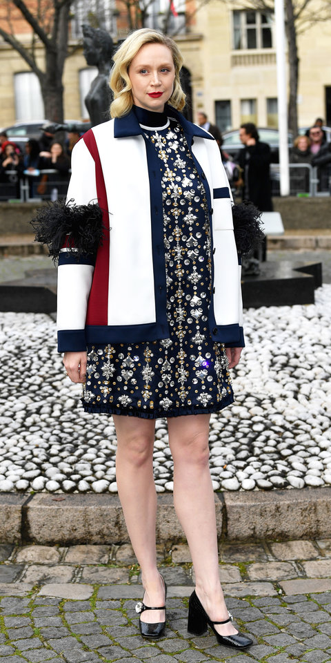 Gwendoline Christie wowed during Paris Fashion Week, wearing an embellished Miu Miu dress, jacket, and Mary Jane heels ($850; mytheresa.com ).