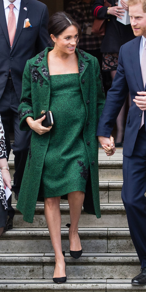 To celebrate Commonwealth Day, Meghan Markle stepped out in a beautiful Erdem coat and coordinating dress. Her go-to Aquazzura pumps ($750; neimanmarcus.com ) and Givenchy clutch added the perfect finishing touches.