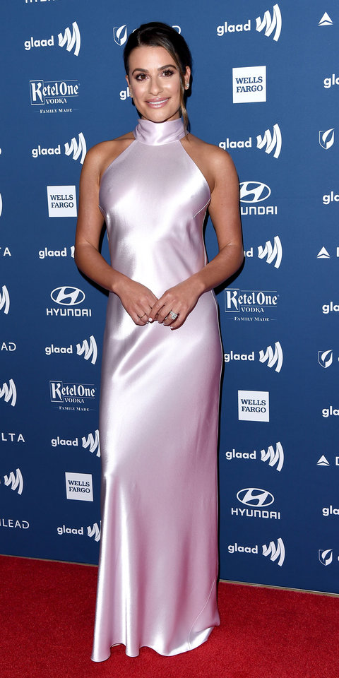 Lea Michele wore a silky lilac dress by Galvan London with Casadei heels to the GLAAD awards.