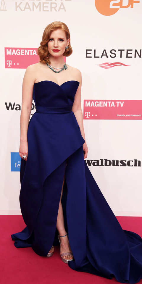 Jessica Chastain stunned in a royal blue Elie Saab gown, Piaget jewelry, and René Caovilla heels at the Golden Camera awards.